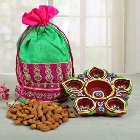 Flower Diya set with Pink & Green Designer