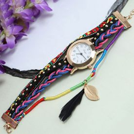 Black Braided Analog Wrist Watch