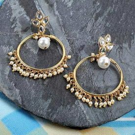 stone-studded drop earrings