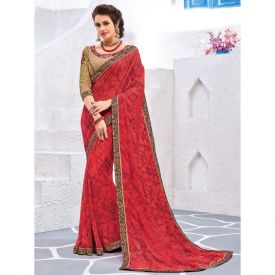 Red Floral Designer Party Wear Saree
