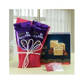 Soan Papdi 250gms and 2 Cadbury Chocolate