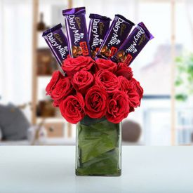 10 Cadbury Fruit & Nut Chocolates And 10 Roses