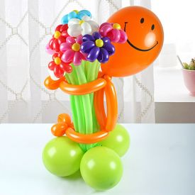 Smiley With Flower Balloons Arrangement