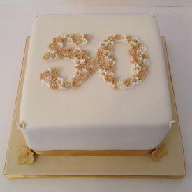 Anniversary cake golden