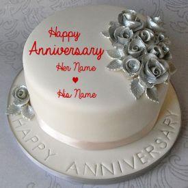 silver happy anniversary cake