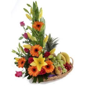 Fruits  basket with mix flower