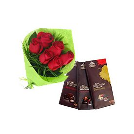 Chocolates with red roses