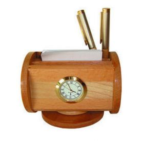 Pen stand with visiting card and clock