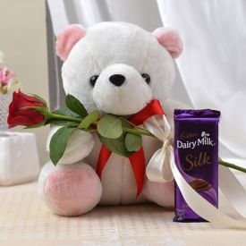 Teddy bear with 1 rose and 1 silk