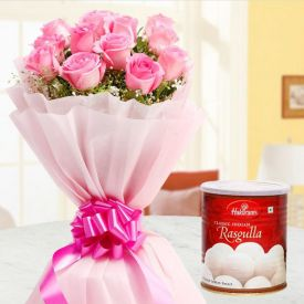 Bunch of 25 Pink Roses with Rasgulla