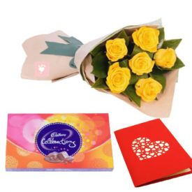 Greeting Card & Flower Hamper