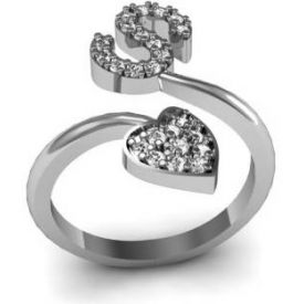 S Heart Shape Valentine CZ Silver Plated Brass Rhodium Plated Ring