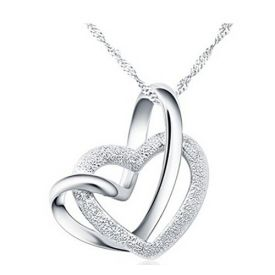 Jewellery Silver Plated double heart Pendant for girls With Chain