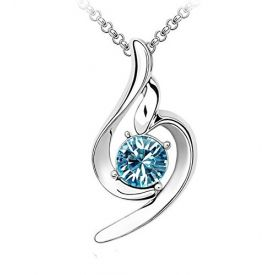 18k White Gold Plated Blue Solitaire Crystal Curvy Pendant with Chain