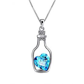 Love Drift Bottles Blue Heart Crystal Pendant Necklace