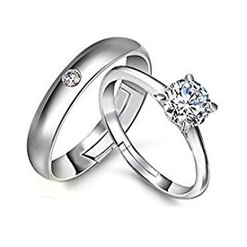 Valentine day special Platinum Plated Austrian Crystal Elegant Couple Adjustable Band Ring
