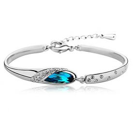 Platinum Plated Blue Crystal Kadaa Bracelet