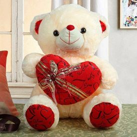 Cream Teddy With Heart