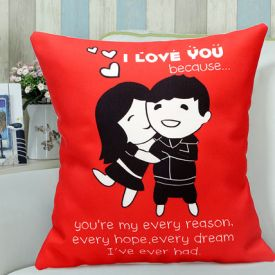 Red Hug day cushion