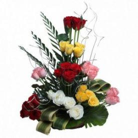 Mixed Roses Arrangements in basket