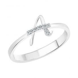 ''A'' Alphabet Silver & Rhodium Plated Ring
