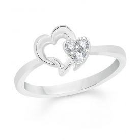 Silver Dual Heart Rings