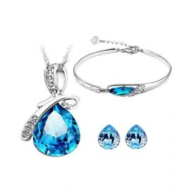 Austrian Crystal Pendant Set With Earrings And Bracelet
