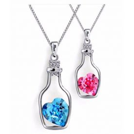 Combo of Blue & Pink heart bottle shape pendant and chain