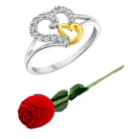 Valentine Silver Couple Heart And Rhodium Plated Alloy Ring For Girls And Women