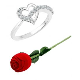 valentine day special Silver Ring with Red Rose Ring Box