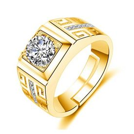 Gold Crystal Adjustable Men's Rings