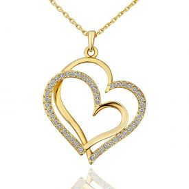 couple heart Real Rose Gold Plated Austrian Crystal Pendant for Girls