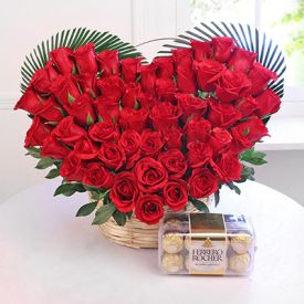 Heart shape Red Roses with Ferrero Rocher