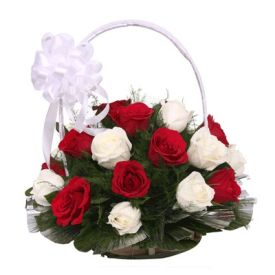 Basket of 30 red and white roses