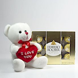 Box of ferrero rocher with teddy