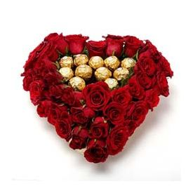 Roses and Chocolate in Heart Shaped