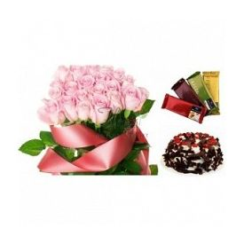 Pink Roses, Cake and Temptation Chocolate