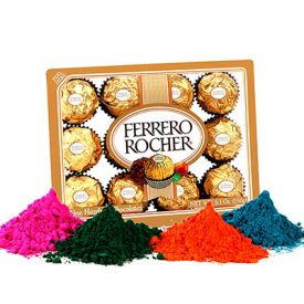 24 Pcs Ferraro Rocher with 4 shade Holi Gulal