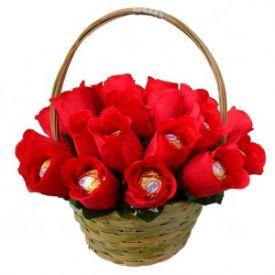 Basket of ferrero rocher bouquet