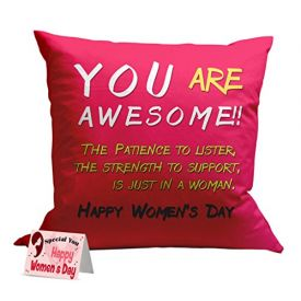Happy women's day printed cushion