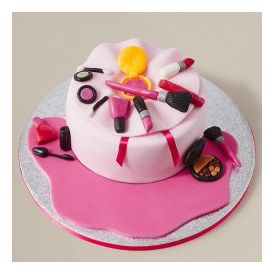 Pink fondant make up cake 2 Kg