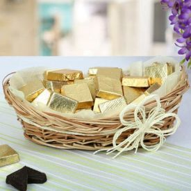 Golden chocolate with basket