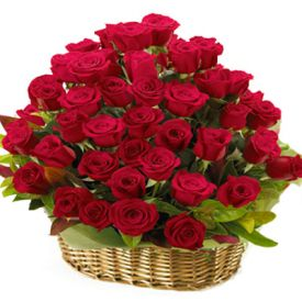 Basket Of 40 Red Roses