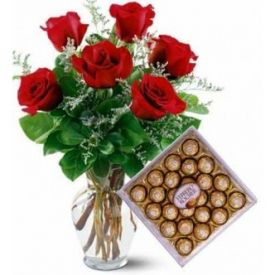 Roses and ferrero rocher with vase