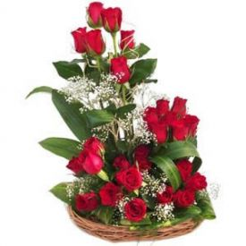 Basket of Fresh Red Roses