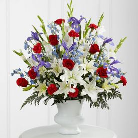 Mixed flowers with vase