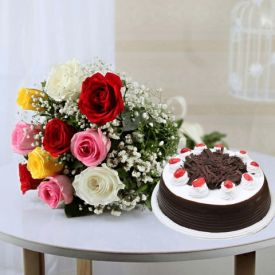 Mixed roses with black forest cake