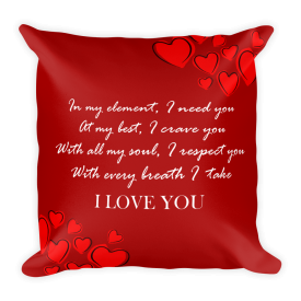 I LOVE YOU POETRY QUOTE PILLOW