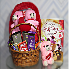 Lovely combo of Greeting teddy & chocolates