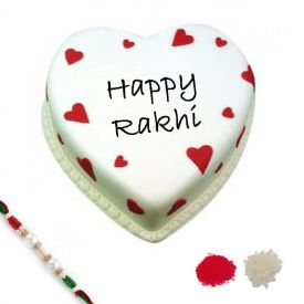 Rakhi With Heart shape cake